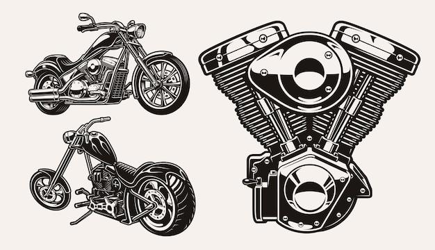 Conjunto de ilustrações em preto e branco para o tema motocicleta
