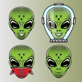 Conjunto de ilustrações engraçadas de aliens verdes.
