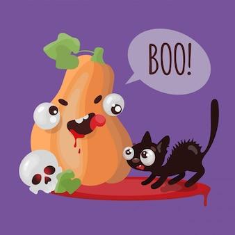 Conjunto de ilustrações engraçadas de desenhos animados de halloween cat de abóbora