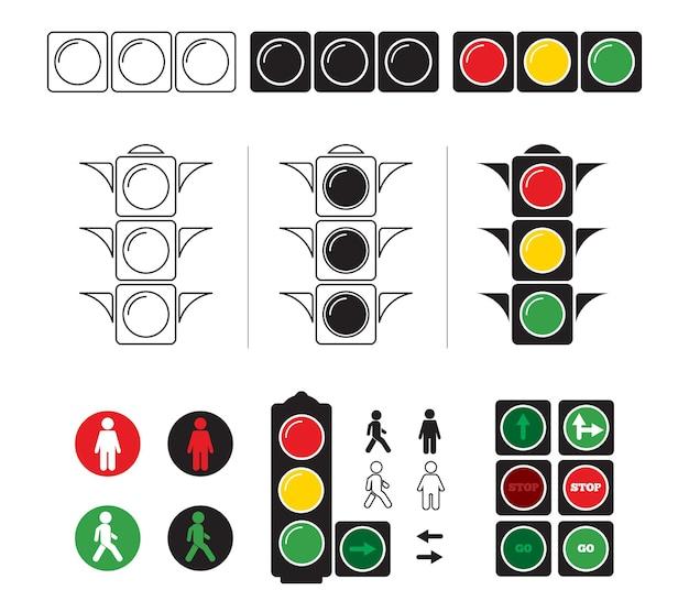 Conjunto de ilustrações estilizadas de semáforo com símbolos.