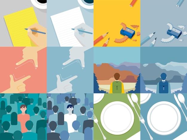 Conjunto de ilustrações explorando o conceito de valores humanos