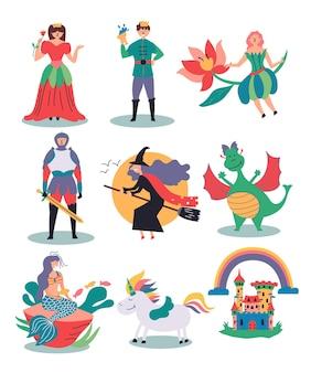 Conjunto de ilustrações fabulosas bruxa fada princesa príncipe cavaleiro sereia unicórnio castelo dragão