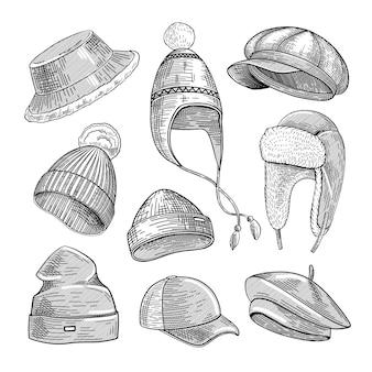 Conjunto de ilustrações gravadas de chapéus de inverno