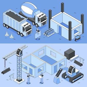 Conjunto de ilustrações horizontais de canteiros de obras com máquinas e personagens humanos
