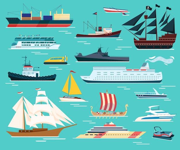 Conjunto de ilustrações isoladas de navios e barcos