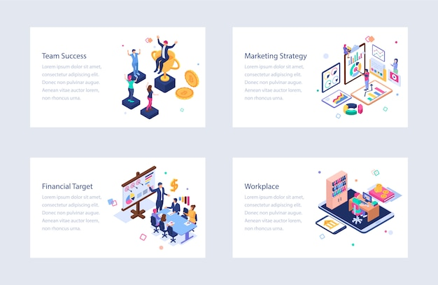 Conjunto de ilustrações isométricas de negócios
