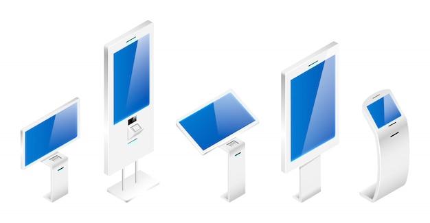 Conjunto de ilustrações isométricas de placas de informação digital. terminais de banco objetos de cores planas. quiosques interativos modernos do auto-serviço isolados no fundo branco. construções independentes