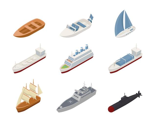 Conjunto de ilustrações isométricas de transporte marítimo