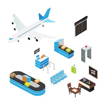 Conjunto de ilustrações isométricas do aeroporto assentos de embarque do terminal do aeroporto da mala do turista do avião