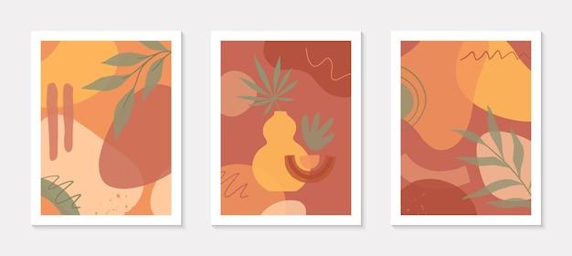 Conjunto de ilustrações modernas com vaso