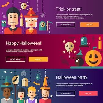 Conjunto de ilustrações modernas de halloween, banners, cabeçalhos com ícones e personagens. panfletos para festa