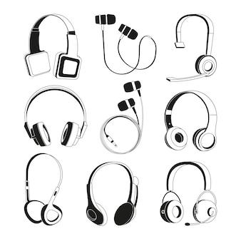 Conjunto de ilustrações monocromáticas. silhueta de fones de ouvido