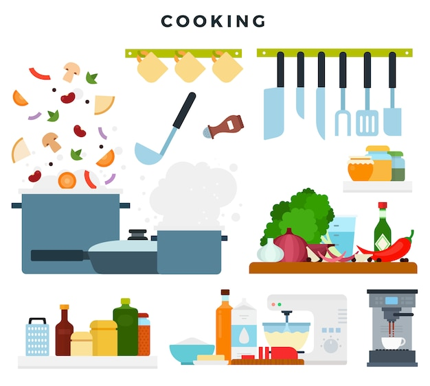 Conjunto de ilustrações, mostrando o processo de cozimento. ingredientes e utensílios de cozinha