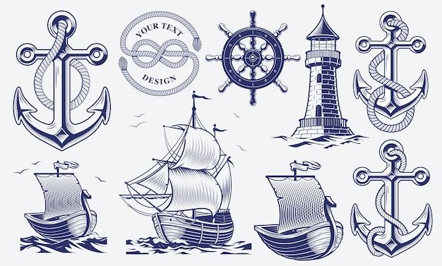 Conjunto de ilustrações náuticas vintage em preto e branco
