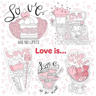 Conjunto de ilustrações o amor é.
