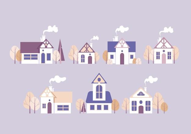 Conjunto de ilustrações, objetos isolados, casas de desenhos animados, elementos de design para arquitetos de hipotecas imobiliárias