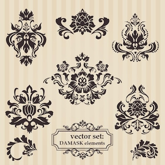 Conjunto de ilustrações ornamentais de damasco