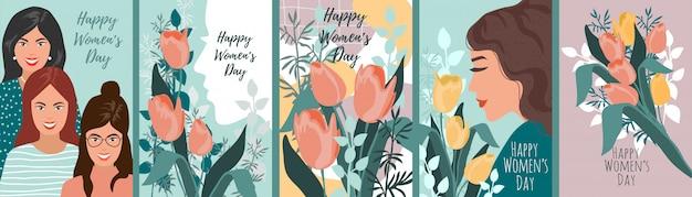 Conjunto de ilustrações para o dia da mulher.