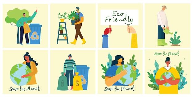 Conjunto de ilustrações para salvar o ambiente. desperdício zero, pense verde, salve o planeta