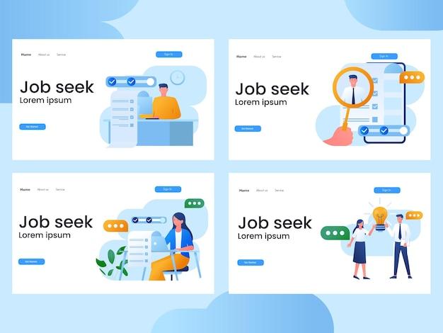 Conjunto de ilustrações para um site de busca de emprego Vetor Premium