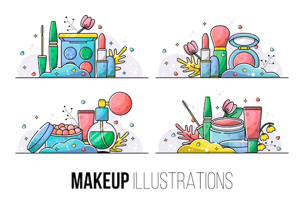 Conjunto de ilustrações para uma maquiagem linda