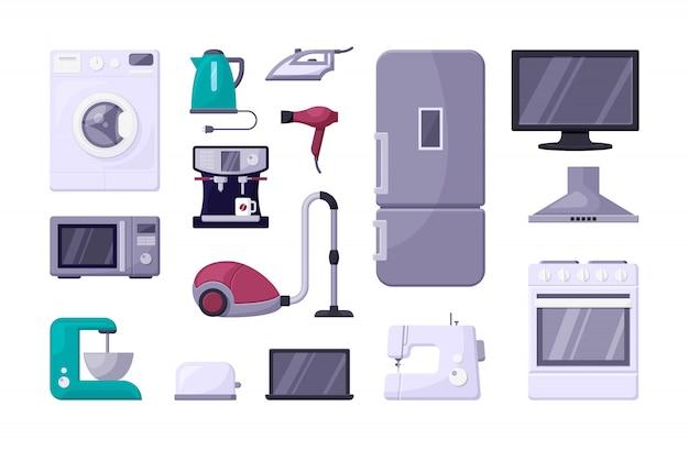 Conjunto de ilustrações plana de cor de eletrodomésticos