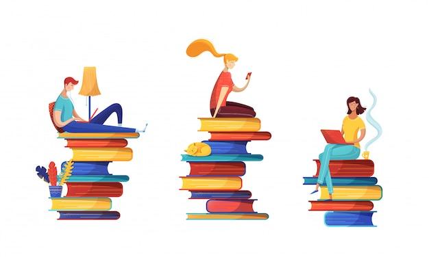 Conjunto de ilustrações plana de leitores de biblioteca digital