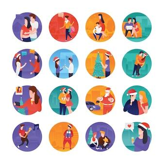 Conjunto de ilustrações plana de natal e ano novo
