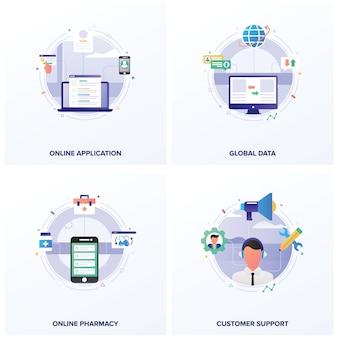 Conjunto de ilustrações plana de negócios on-line