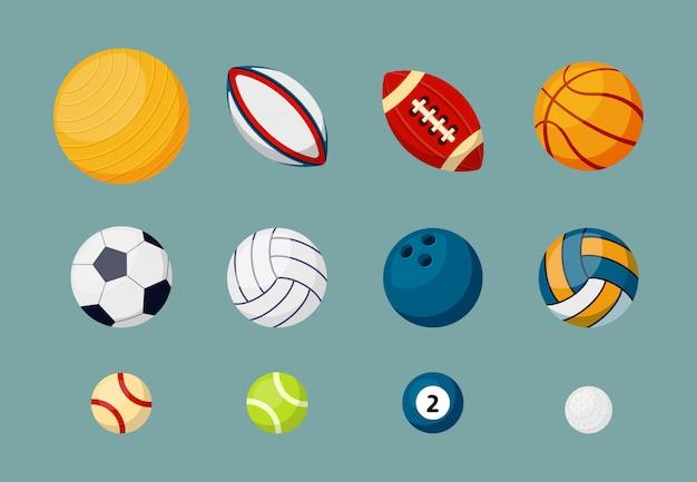 Conjunto de ilustrações plana de várias bolas de esportes