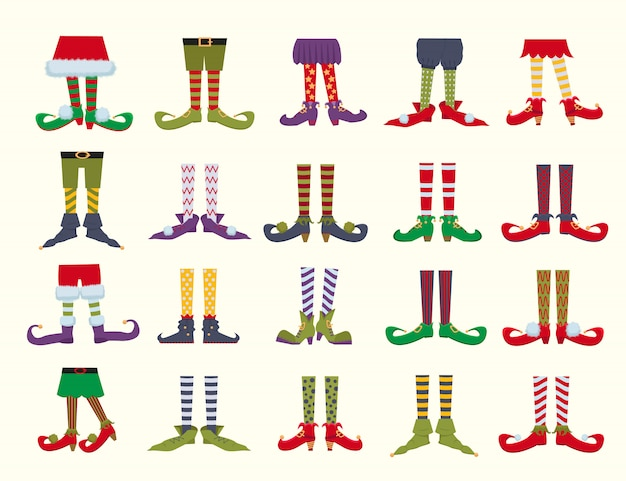 Conjunto de ilustrações plana dos desenhos animados pés duende