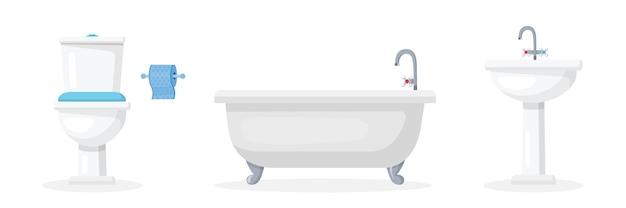 Conjunto de ilustrações planas de atributos de banheiro, coleção de equipamentos de higiene e cuidados com a pele, vaso sanitário de cerâmica com rolo de papel, itens de decoração de interiores de banheiro, pia e banheira, móveis de banheiro