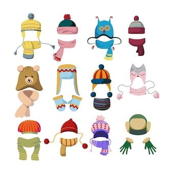 Conjunto de ilustrações planas de bonés e cachecóis de lã