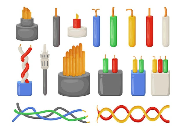 Conjunto de ilustrações planas de cabos elétricos de desenho animado