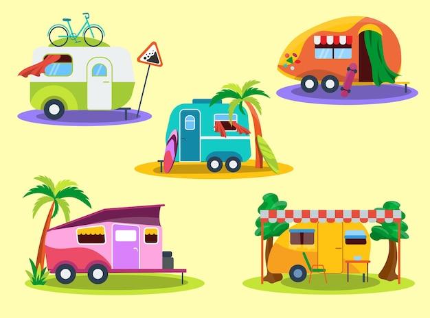 Conjunto de ilustrações planas de camper vans vintage