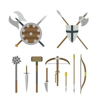 Conjunto de ilustrações planas de diferentes armas medievais.