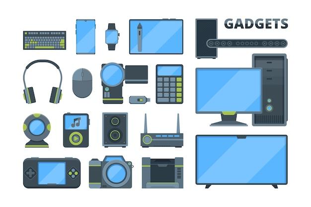 Conjunto de ilustrações planas de diferentes dispositivos eletrônicos modernos. tv, computador, tablet digital. mouse e teclado sem fio, webcam.