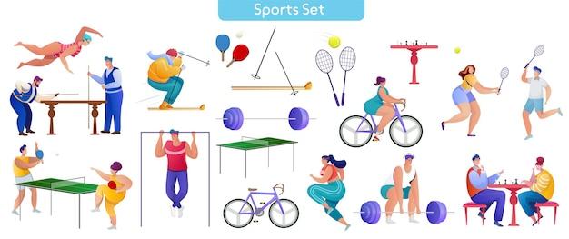 Conjunto de ilustrações planas de esporte