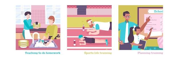 Conjunto de ilustrações planas de planejamento diurno, ensino a fazer lição de casa e treinamento esportivo