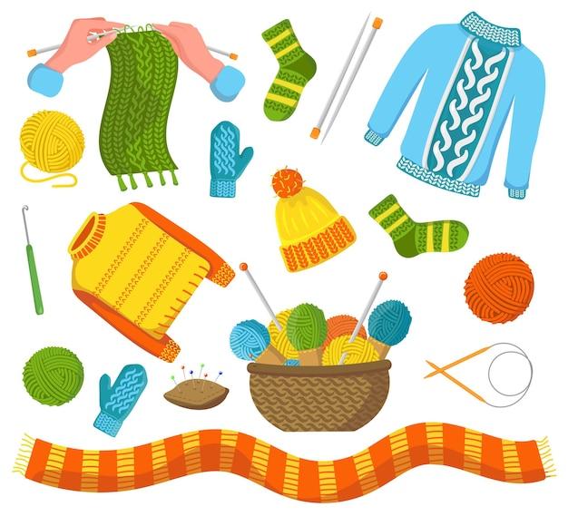Conjunto de ilustrações planas de roupas de inverno tricotadas da moda