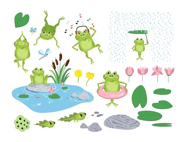 Conjunto de ilustrações planas de sapos e girinos de desenho animado
