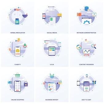 Conjunto de ilustrações planas de seo