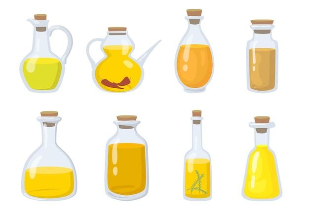 Conjunto de ilustrações planas de tipos de óleo em garrafas de vidro