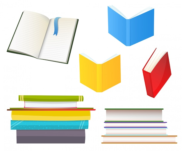 Conjunto de ilustrações planas de vários livros