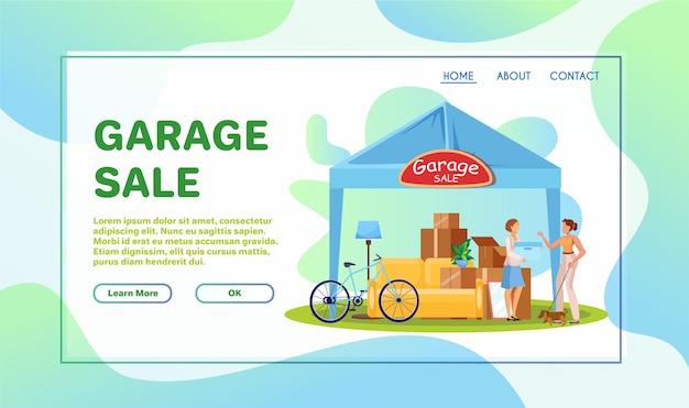 Conjunto de ilustrações planas de venda de garagem