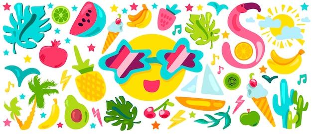 Conjunto de ilustrações planas de verão tropical. resort exótico, ilha paradisíaca. desenhos animados para festas na praia