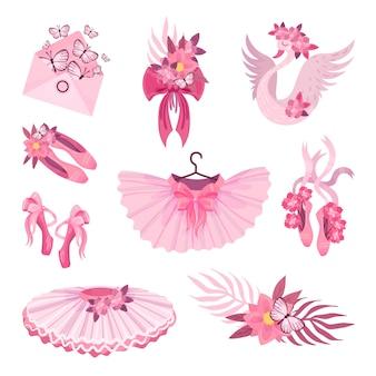 Conjunto de ilustrações rosa com tema de balé