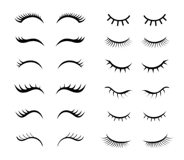 Conjunto de ilustrações simples de cílios para meninas