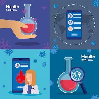 Conjunto de ilustrações sobre pandemia de saúde e coronavírus.