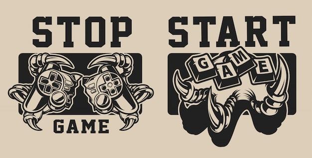 Conjunto de ilustrações sobre um tema de jogo com um joystick em branco e preto